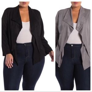 🆕Black or Grey Faux Suede Cascade Jacket